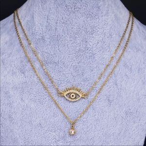 Double layered evil eye necklace